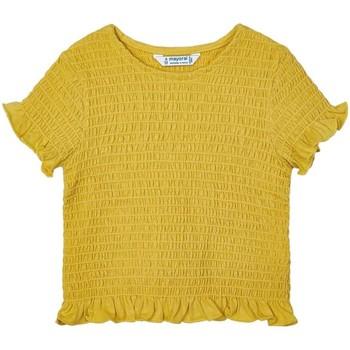 textil Niña Tops / Blusas Mayoral Camiseta m/c nido de abeja amarillo