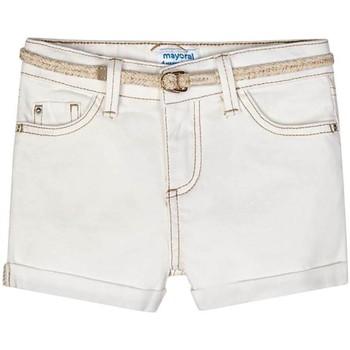 textil Niña Shorts / Bermudas Mayoral Short sarga basico Blanco