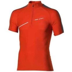 textil Hombre Camisetas manga corta Asics 1 2 Zip Top Rojos