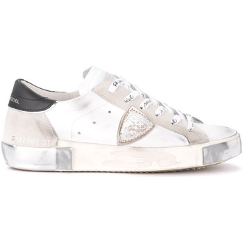 Zapatos Mujer Zapatillas bajas Philippe Model Zapatilla Paris X de piel y suede blanco con alerón negro Blanco