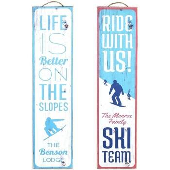 Casa Cuadros, pinturas Signes Grimalt Placa Pared Ski Set 2 U Azul