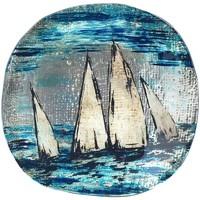 Casa Bandejas Signes Grimalt Plato Redondo Barcos Azul