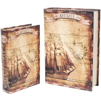 Casa Baúles, cajas de almacenamiento Signes Grimalt Cajas Libro Barco Set 2U Marrón