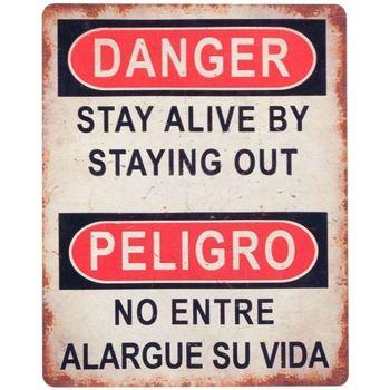 Casa Cuadros, pinturas Signes Grimalt Placa Pared Danger/Peligro Multicolor