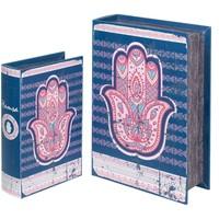 Casa Baúles, cajas de almacenamiento Signes Grimalt Cajas Libro Mano Fátima 2U Azul