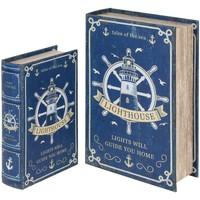 Casa Baúles, cajas de almacenamiento Signes Grimalt Cajas Libro Timón Set 2U Azul