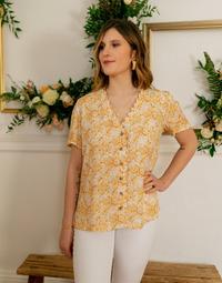 textil Mujer Tops / Blusas Céleste MESANGE Amarillo / Blanco