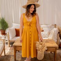 textil Mujer Vestidos largos Céleste CAMOMILLE Amarillo