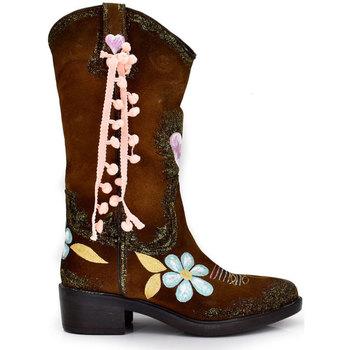 Zapatos Mujer Botas urbanas Exé Shoes CAMPERAS PINTURA A MANO ARIZONA-199 Color Cuero