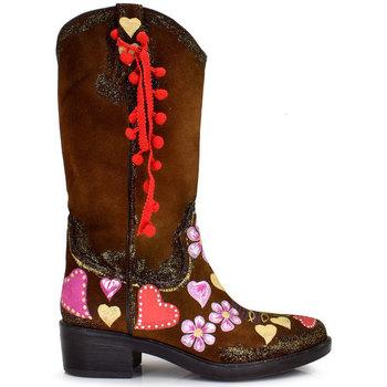 Zapatos Mujer Botas urbanas Exé Shoes CAMPERAS PINTADAS A MANO ARIZONA-299 Color Cuero