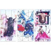 Casa Cuadros, pinturas Signes Grimalt Adorno Pared Sigris Set 3U Multicolor