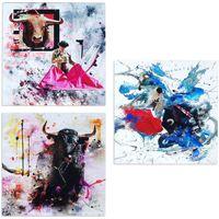 Casa Cuadros, pinturas Signes Grimalt Placa Set 3 Unidades Multicolor
