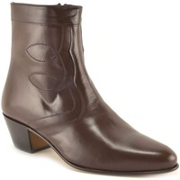 Zapatos Hombre Botas de caña baja Marttely Design Botines de piel con tacon cubano by Marron