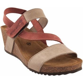 Zapatos Mujer Sandalias Interbios Sandalia señora  5635 beig Rojo