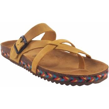 Zapatos Mujer Chanclas Interbios Sandalia señora  7121-c mostaza Amarillo