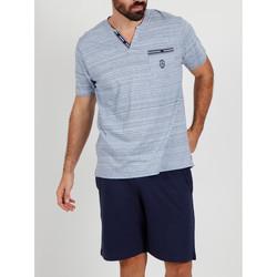 textil Hombre Pijama Admas For Men Camiseta corta de pijama Light Stripes azul Admas Azul