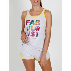 textil Mujer Pijama Admas Pantalones cortos de pijama camiseta tirantes brillantes Gris Claro