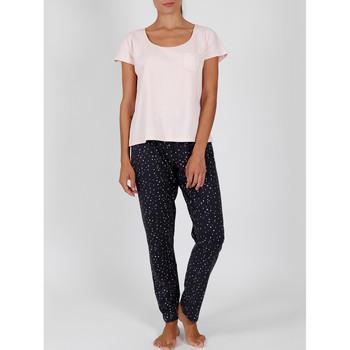 textil Mujer Pijama Admas Pantalones pijama camiseta de interior Shine Stars rosa Rosa Pálido