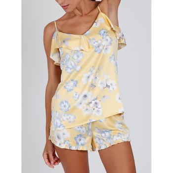 textil Mujer Pijama Admas Pantalones cortos de pijama sin mangas Sunny Spring amarillo Caqui
