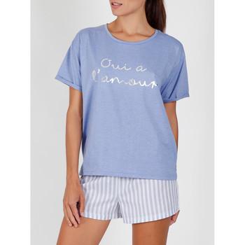 textil Mujer Pijama Admas Camiseta corta del pijama Yes To Love azul Azul
