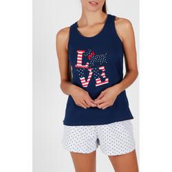 textil Mujer Pijama Admas Pantalones cortos de pijama camiseta sin mangas LouLou Love Azul Marine