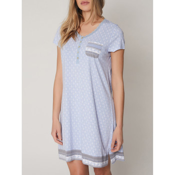 textil Mujer Pijama Admas Camisón de manga corta lunares pequeños Azul