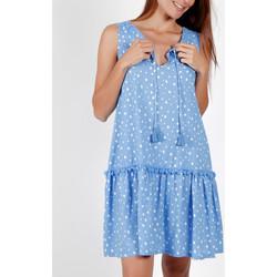 textil Mujer Vestidos cortos Admas Vestido de verano sin mangas Pequeños lunares azules Azul