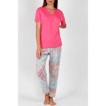 textil Mujer Pijama Admas Pantalones pijama camiseta Colores Diamantes rosa Rosa Pálido