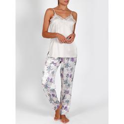 textil Mujer Pijama Admas Pantalones de satén camisola pijama Romántico marfil Amarillo