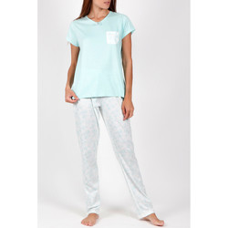 textil Mujer Pijama Admas Camiseta de pantalones pijama Flores verano verde Verde Oscuro