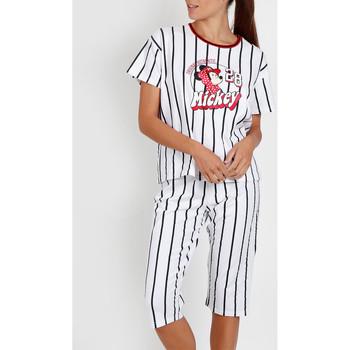 textil Mujer Pijama Admas Camiseta de pantalones pijama Mickey Beisbol Disney blanco Blanco