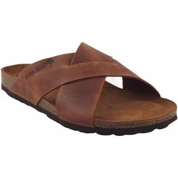 Zapatos Hombre Zuecos (Mules) Interbios Sandalia caballero  9509 cuero Marrón