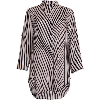 textil Mujer Camisas Lisca Camisa de verano Okinawa  manga tres cuartos Pearl Black-blanco