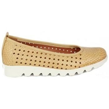 Zapatos Mujer Bailarinas-manoletinas Lolas ZAPATO SALON PIEL TRENZADA CON PLANTA GEL Y CUÑA FLEX Beige