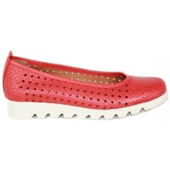 Zapatos Mujer Bailarinas-manoletinas Lolas ZAPATO SALON PIEL TRENZADA CON PLANTA GEL Y CUÑA FLEX Rojo