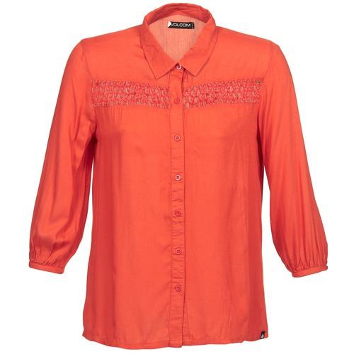 Volcom KNOTTY Rojo - Envío gratis | ! - textil camisas manga larga Mujer