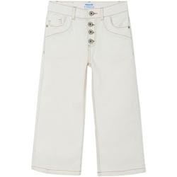 textil Niña Pantalones con 5 bolsillos Mayoral Pantalon cropped sarga Blanco