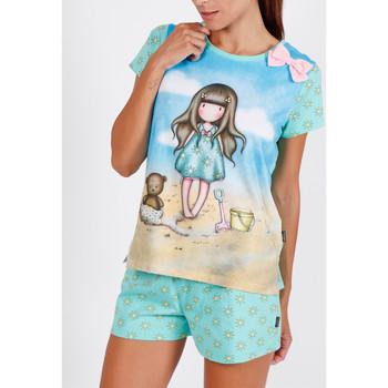 textil Mujer Pijama Admas Camiseta de pijama corto Hola Verano Santoro azul Azul