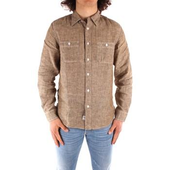 textil Hombre Camisas manga larga Blauer 21SBLUS01221 MARRÓN