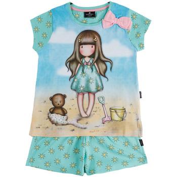 textil Niña Pijama Admas Camiseta de pijama chica pantalones cortos Hola Verano Santoro Azul