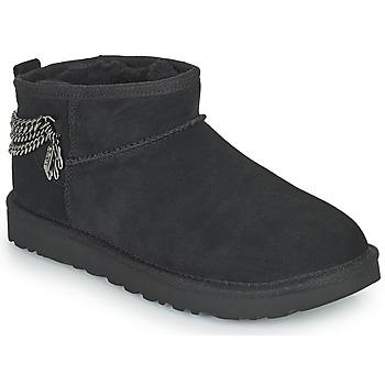 Zapatos Mujer Botas de caña baja UGG Classic Ultra Mini Chains Negro