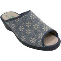 Zapatos Mujer Pantuflas Made In Spain 1940 Chanclas mujer abiertas flores azul