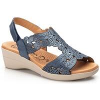 Zapatos Hombre Alpargatas Morxiva Shoes Sandalias de piel de mujer con cuña by Morxiva Bleu