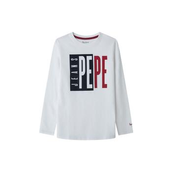 textil Niño Camisetas manga larga Pepe jeans AARON Blanco