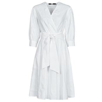 textil Mujer Vestidos cortos Karl Lagerfeld LOGO EMROIDERED SHIRT DRESS Blanco