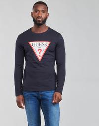 textil Hombre Camisetas manga larga Guess CN LS ORIGINAL LOGO TEE Marino
