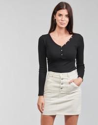 textil Mujer Camisetas manga larga Guess ES LS V NECK LOGO HENLEY TEE Negro