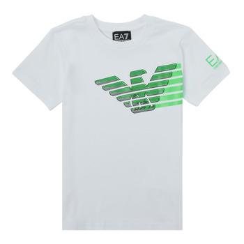 textil Niño Camisetas manga corta Emporio Armani EA7 THAMIA Blanco / Verde
