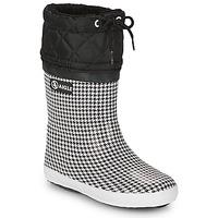 Zapatos Niña Botas de nieve Aigle GIBOULEE PRINT Negro / Blanco
