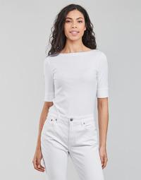 textil Mujer Camisetas manga larga Lauren Ralph Lauren JUDY-ELBOW SLEEVE-KNIT Blanco